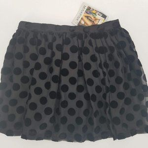 MinkPink Black Velvet Polka Dot Burnout Mini Skirt